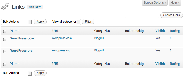 how to add link to blogroll in wordpress