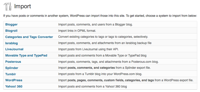 import content from various sites to wordpress
