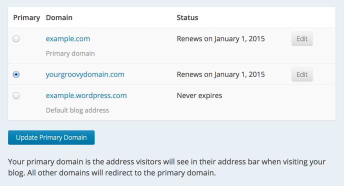 Screenshot of the My Domains page showing how to switch the primary domain