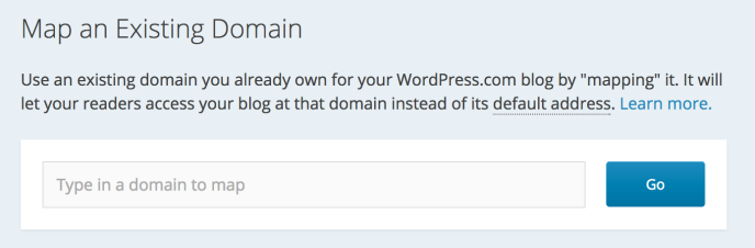 Screenshot of adding an existing domain to WordPress.com