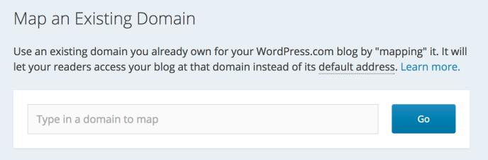 Screenshot of adding an existing domain to WordPress.com