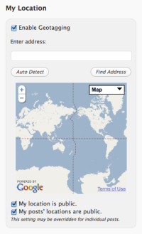 Enabled Geotagging