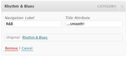 Menu Editor Customize Titles