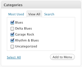 Menu Editor Select Categories