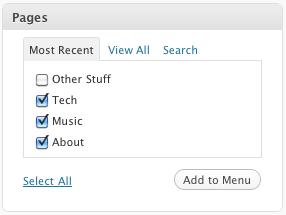 Menu Editor Select Pages