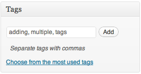 Separate multiple tags with commas