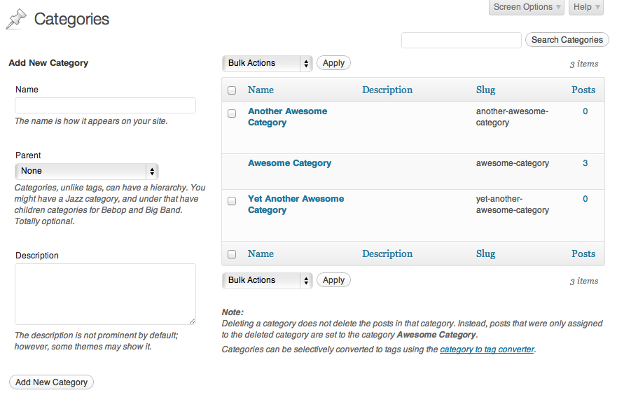 Categories Page