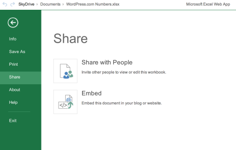 Microsoft Skydrive Excel Embed Instructions: Select Share > Embed