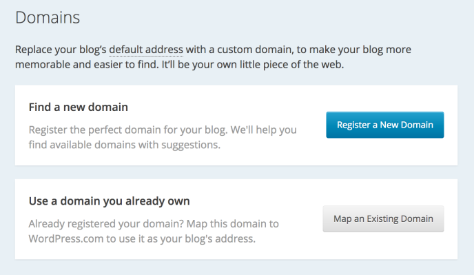 Screenshot of adding a domain to WordPress.com