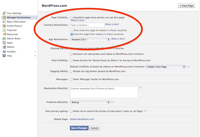 WordPress.com Facebook Page permissions