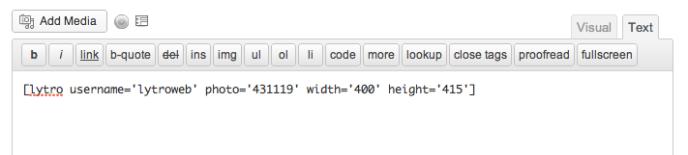 Lytro Shortcode