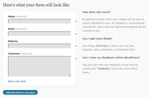 RSVP: First screen of the Form Builder.