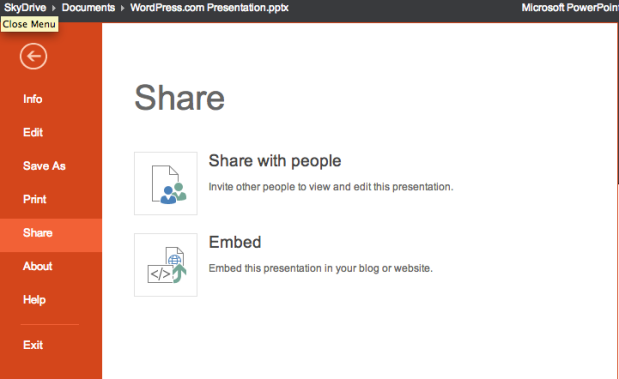 Microsoft Skydrive PowerPoint Embed Instructions: Select File > Share > Embed