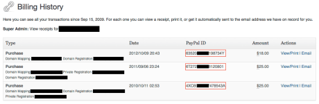 PayPal Transaction ID - Billing History