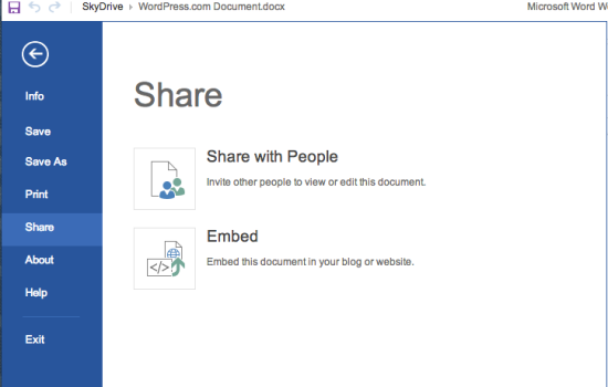 Microsoft Skydrive Word Embed: Select File > Share > Embed