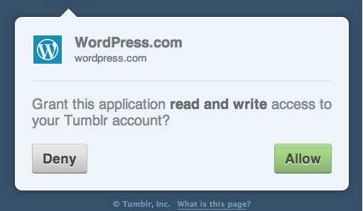 grant WordPress.com access to Tumblr account