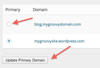 how to change primary domain on wordpress