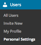 WordPress.com > Blog > Users > Personal Settings