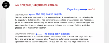 Multilingual blog - one blog one post