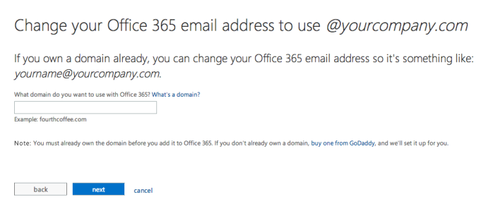 Choose your custom domain for Office 365
