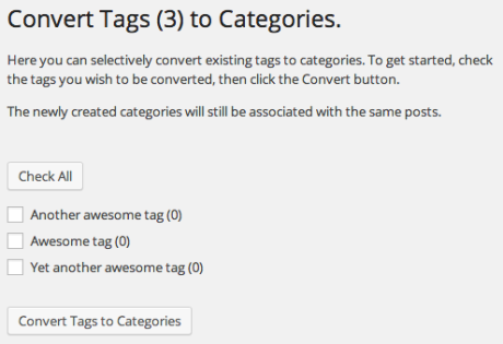 Convert Tags to Categories