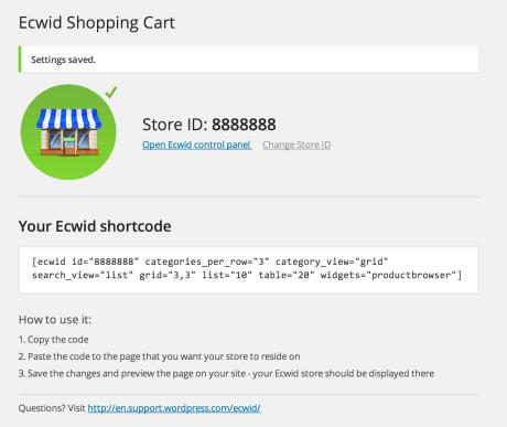 Ecwid - Get Shortcode