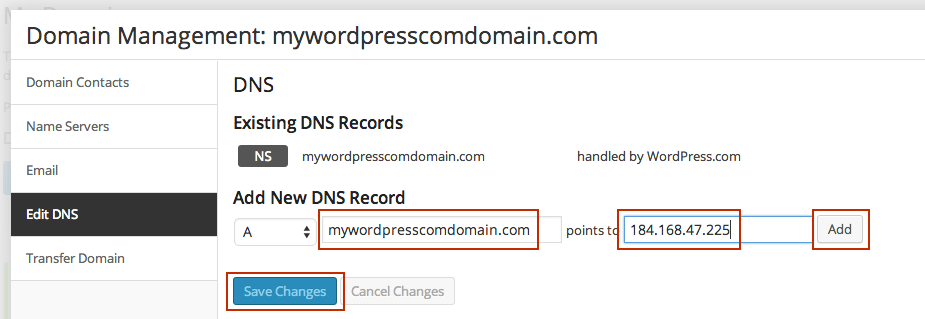 how to change the default wordpress on a single domain