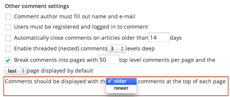 Other comment settings - ordering