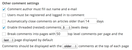 Other comment settings