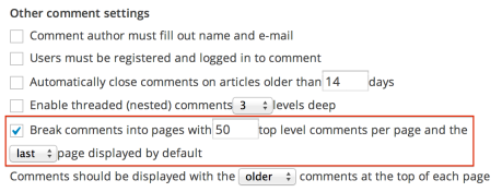 Other comments settings - paging