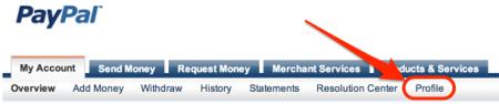 Link da página Perfil de menu PayPal menu