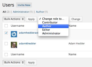 Trocando funções de usuários