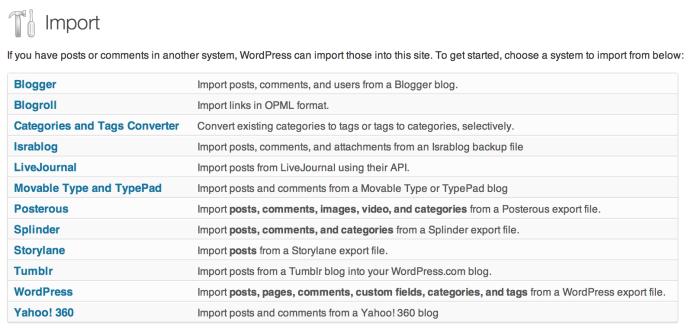 screen shot of import screen
