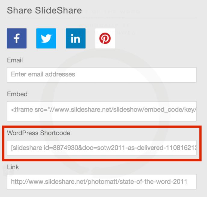 Slideshare WordPress shortcode