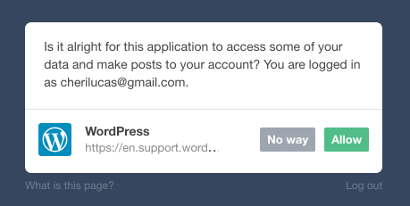 Tumblr アクセスの許可