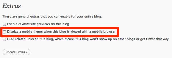 abilitare la versione mobile del blog