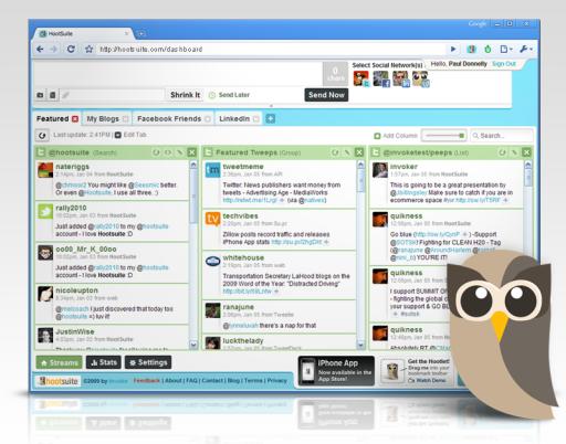 Hootsuite facebook,twitter,linkedin,olabilen yönetim aracı