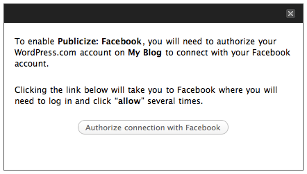 Publicize: Facebook authorization message