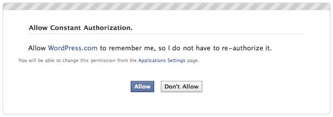 Publicize: Facebook grant offline permission dialog
