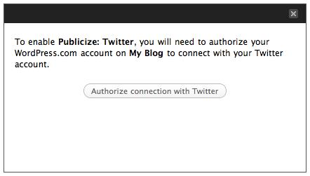 Publicize: Twitter authorization message