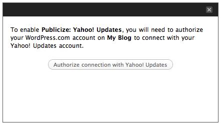 Publicize: Yahoo authorization message