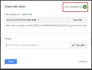 Google Drive shareable link