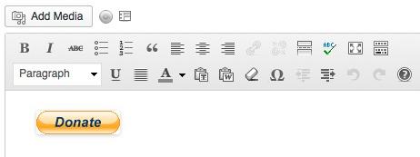 Editor visual mostrando botão doação