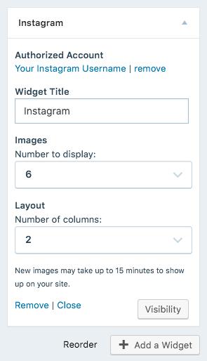 image of Instagram Widget's settings