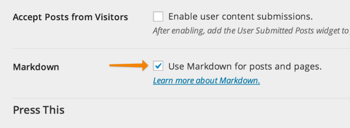 Enabling Markdown for posts and pages