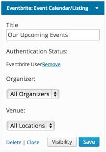 Eventbrite Calendar Widget - authorized