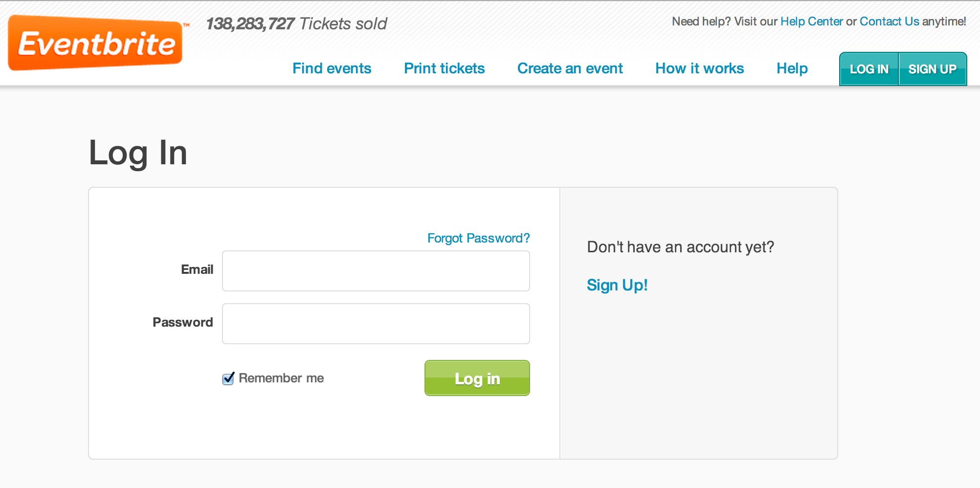 Eventbrite Login Page