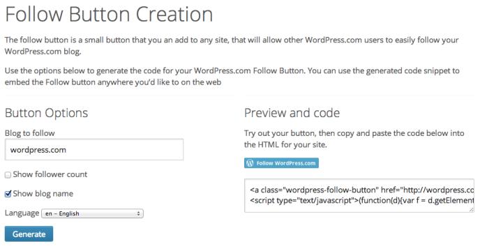 External Follow Button Support Wordpress Com