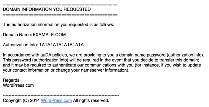 Exemplo de mensagem de Código de Transferência de domínio