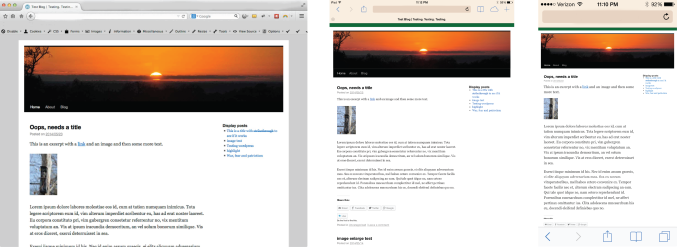 Fixed-width theme Twenty Ten on desktop, iPad and iPhone